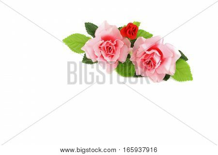 heart yellow and red with rose pink on white background valentine day concept