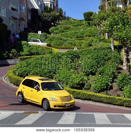 SAN FRANCISCO CA USA APRIL 15: Lombard Street is an east-west street in San Francisco California on april 15 2015. The street is known as the most crooked street in the world