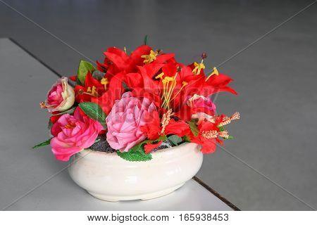 flower in vase ceramic on the table
