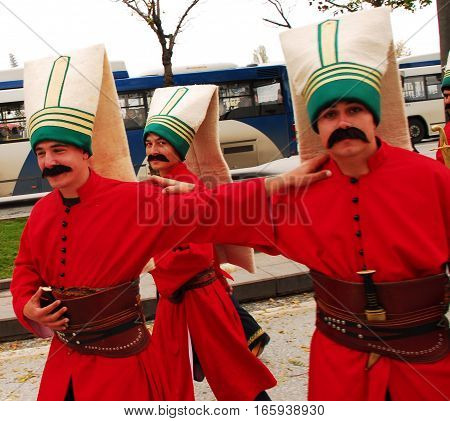 ANKARA, TURKEY - OCTOBER 29, 2010: Traditional Ottoman army band (Mehter) or janissary band performed a show during the celebrating the 87th Anniversary of Turkish Republic at Ataturk Cultural Center.