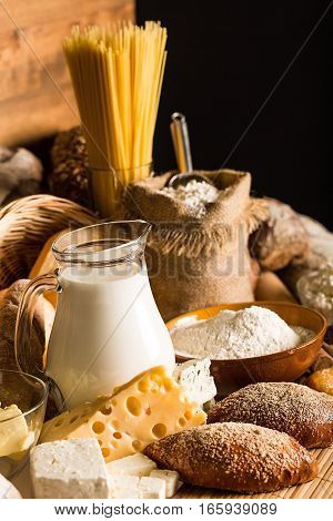 Assorted Breads, Flour, Milk, Olive Oil, Pasta and Cheese