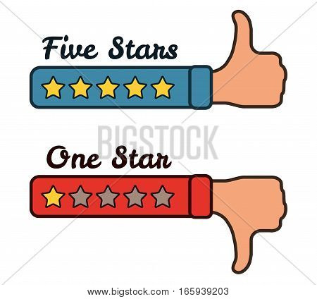 Five and one stars on the red blue hands with text. Thumb up and thumb down. Vector illustration isolated on white.
