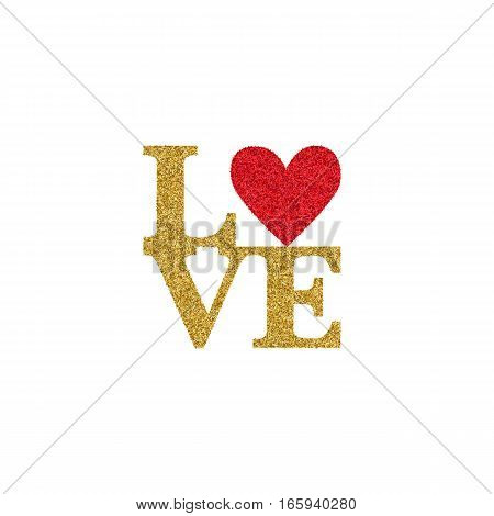 Valentines day card with text LOVE with golden glitter effect and heart with red glitter effect. Font Type