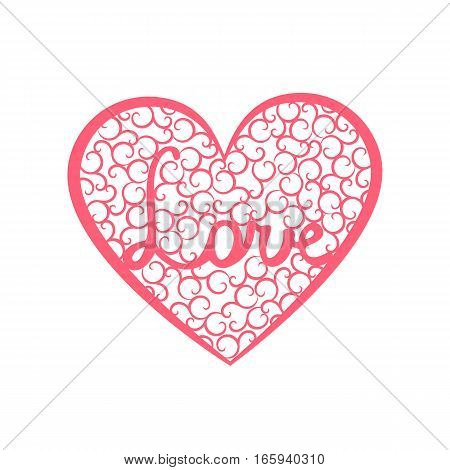 Word Love is enclosed in a large heart. Valentines day card with pink heart with swirls and letters Love