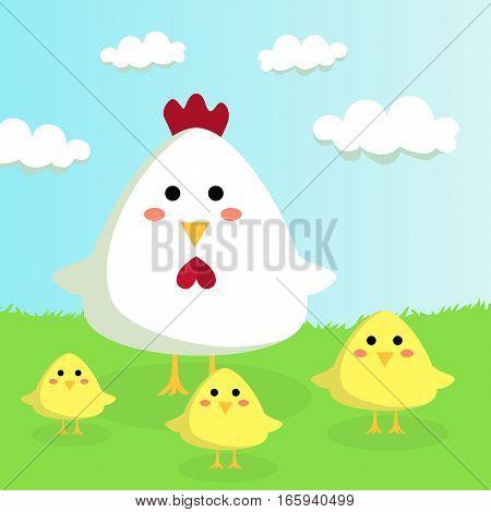 Chicken and chicks on Sunshiny Field vector illustration cartoon