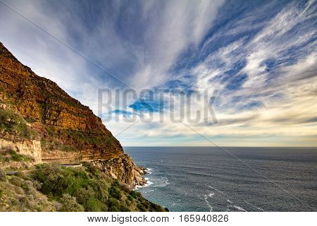 Chapmans peak drive on Cape Peninsula near Cape Town, South Africa