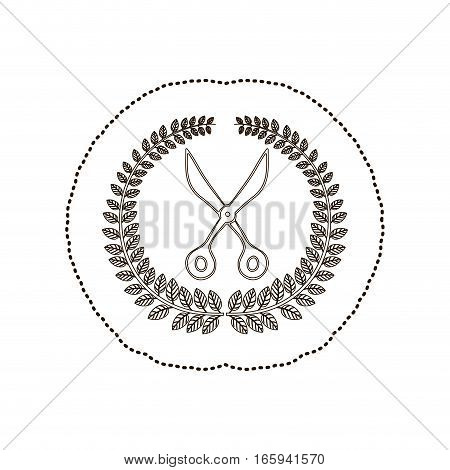 sticker arch of leaves with scissors tool vector illustration