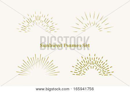 Sunburst frames set. Retro gold Sun burst shape. Vintage explosion logo label badge. Firework design element. Old light rays. Retro vintage hipster style