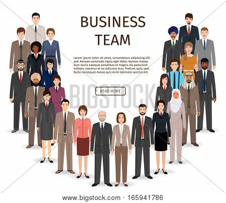 International business team. Group of office employee people standing together. Teamwork concept. Vector illustration.