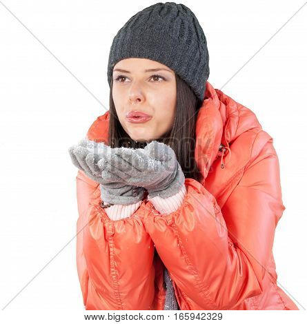 Young Woman In Jacket Blowing Snow Close-up - Isolated
