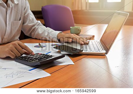 Businessman working on his plan project in office