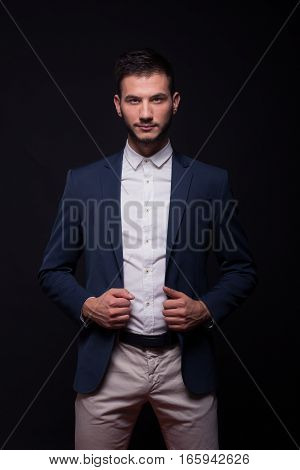 Young Man Model Elegant Shirt Suit Jacket