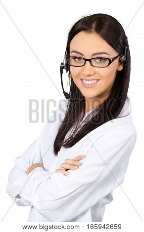 Young Woman with Arms Folded Talking on Headset - Isolated