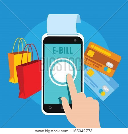 ebill electronic bill pay online with smartphone vector illustration