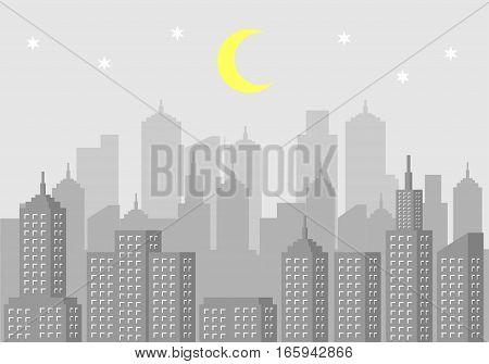 Urban landscape. Modern city scape. Cityscape at night illustration
