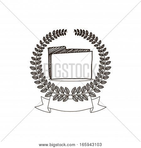 arch of leaves with folder and label vector illustration