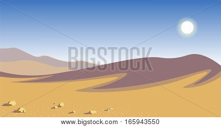 The hot desert. yellow sand dunes blue sky scorching sun natural landscape vector illustration