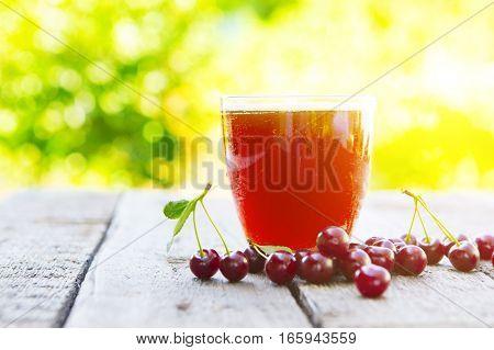 Fresh Berry Cherry In Summer Garden