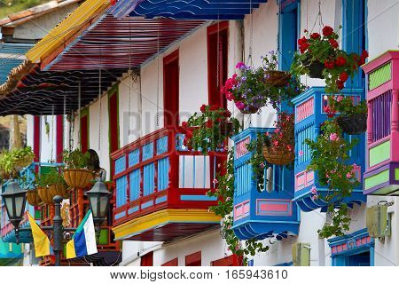 September 21, 2016 Salento, Colombia: colourful architecture in the colonial town in the coffee producing area