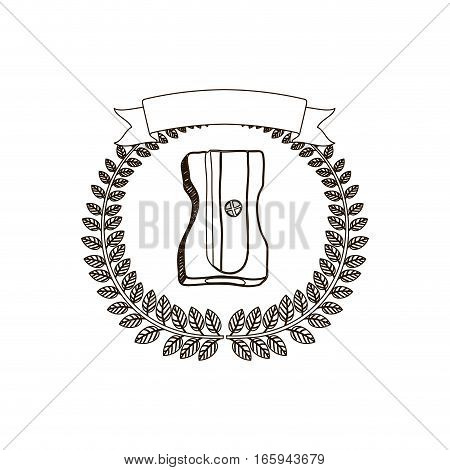 arch of leaves with pencil sharpener and label vector illustration