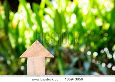 Wooden toy as dream house concept with blurred green background