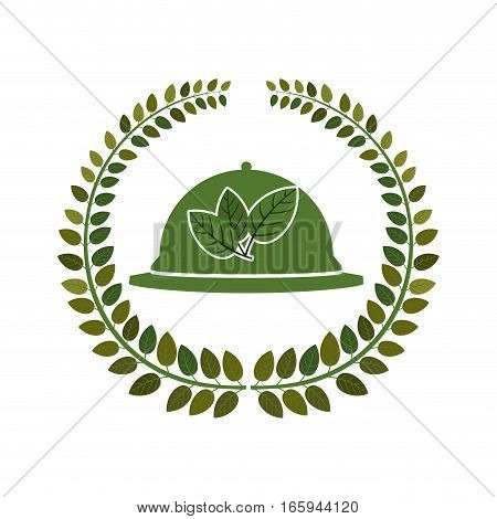 arch of leaves with tableware cover vector illustration