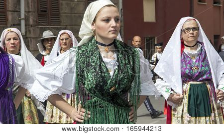 CAGLIARI, ITALY - May 1, 2013: 357 Religious Procession of Sant'Efisio - Sardinia - portrait of a beautiful woman in traditional Sardinian costume