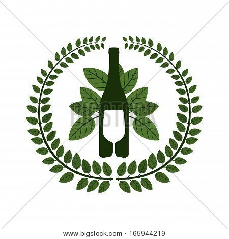 arch of leaves with bottle wine and goblet vector illustration