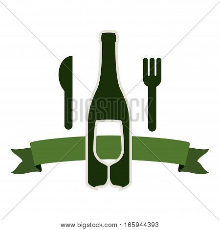 bottle wine and goblet with cutlery vector illustration