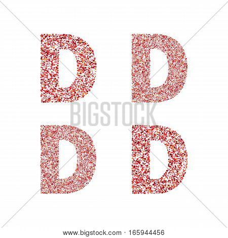 Alphabet letter D with red heart on Valentine's Day. Valentine`s Day Alphabet of Hearts. Love ABC