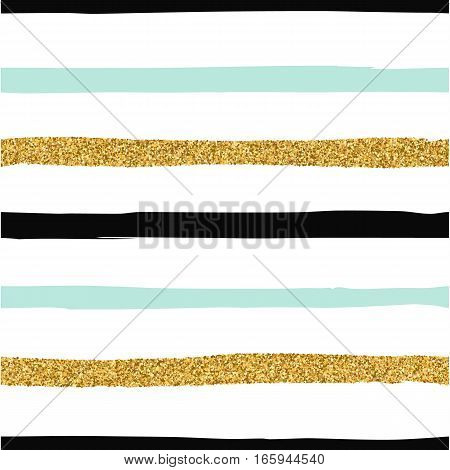 Seamless pattern with black mint and gold glitter stripes. Striped background for textile wallpaper web design wrapping paper fabric paper. Grunge style