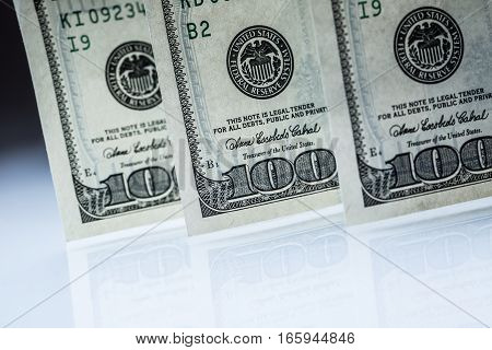 Dollars banknotes. American Dollars Cash Money. One Hundred Dollar Banknotes.
