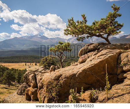 Longs Peak from Trail Ridge Road (U.S. Route 34), in Rocky Mountain National Park, near Estes Park, Colorado.
