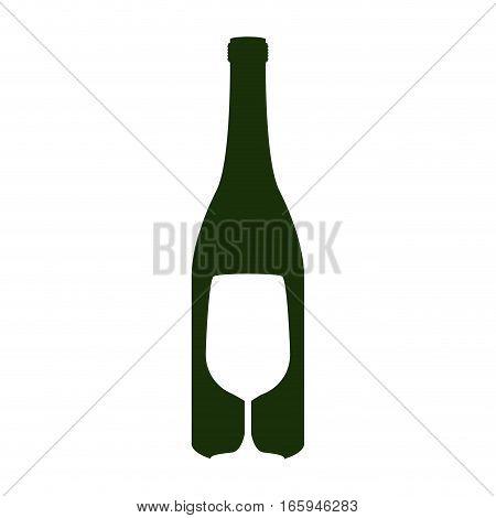 silhouette bottle wine and goblet vector illustration