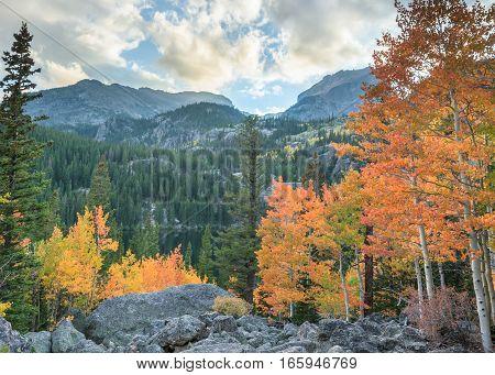 Autumn colors at Bear Lake, in Rocky Mountain National Park, near Estes Park, Colorado.