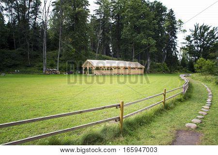 Shed storage on the fenced pasture. Europe. Latvia