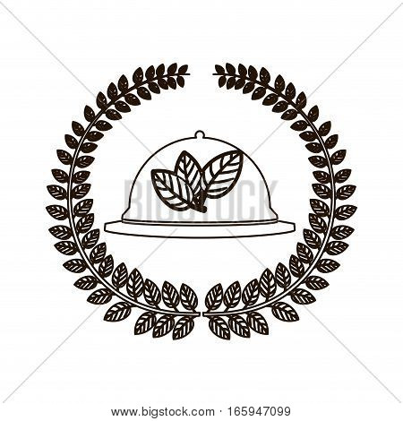 silhouette arch of leaves with tableware cover vector illustration