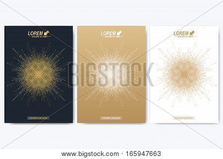 Modern vector template for brochure, leaflet, flyer, cover, catalog, magazine or annual report. Golden layout in A4 size. Business, science and technology design book layout.Presentation with mandala