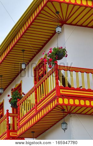 September 21, 2016 Salento, Colombia: colourful colonial style balconies are decorating the buildings of the coffee producing town