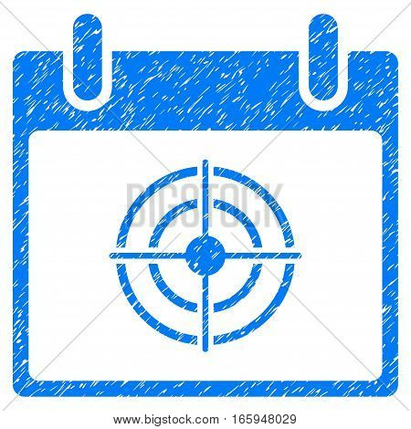 Bullseye Calendar Day grainy textured icon for overlay watermark stamps. Flat symbol with scratched texture. Dotted vector blue ink rubber seal stamp with grunge design on a white background.