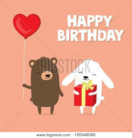 Birthday greeting card with cute cartoon bear and bunny rabbit holding balloon and gift
