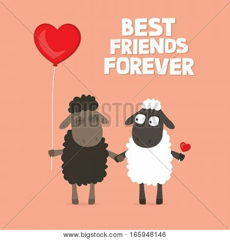 Valentine's Day card with cute cartoon sheep holding hands with text saying best friends forever