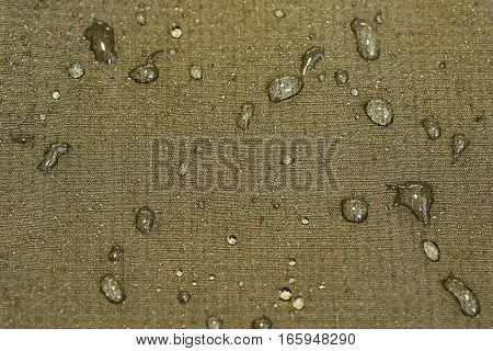 detail of water repellent green material with drops