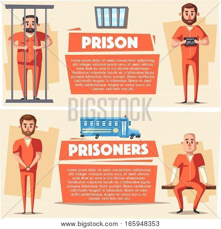 Prison with prisoner. Character design. Cartoon vector illustration. Criminal in orange uniform