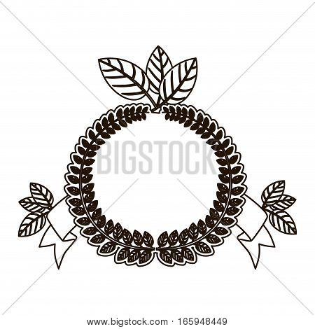 silhouette crown of leaves with ramifications vector illustration