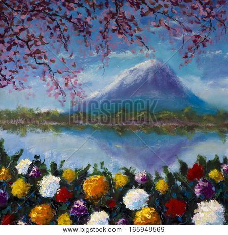 Oil painting of flowers by the lake on a background of mountains on canvas. Modern Impressionism Art