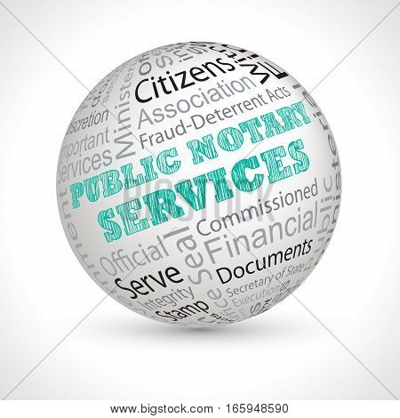 Public Notary Services Theme Sphere With Keywords