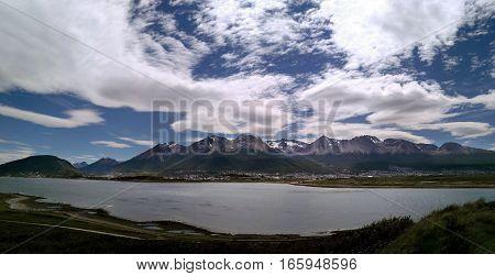 Panoramic view to lake mountains and Ushuaia town