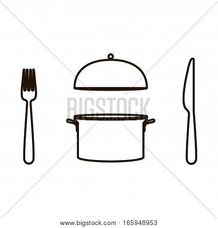 silhouette circular shape with cooking pot and cutlery