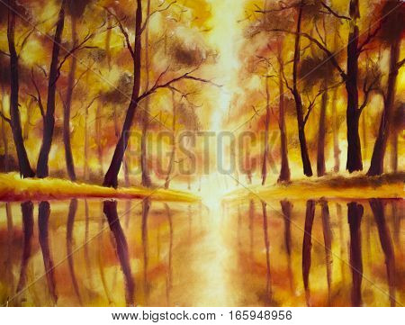 Original oil painting of River in autumn forest on canvas. Modern Impressionism Art. Artwork.